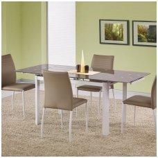 ALSTON smėlio spalvos stiklinis išskleidžiamas valgomasis stalas