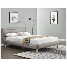 ELANDA 160 šviesiai pilka dvigulė miegamojo lova