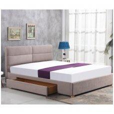MERIDA 160 smėlio spalvos dvigulė miegamojo lova